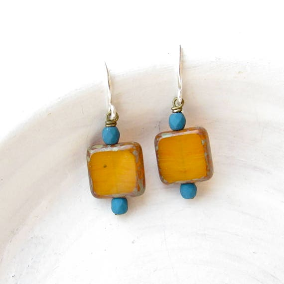 Small Square Earrings > Mustard