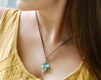 Gemstone cluster necklace,bohemian adjustabe leather cord necklace,boho gemstone necklace. Tiedupmemories