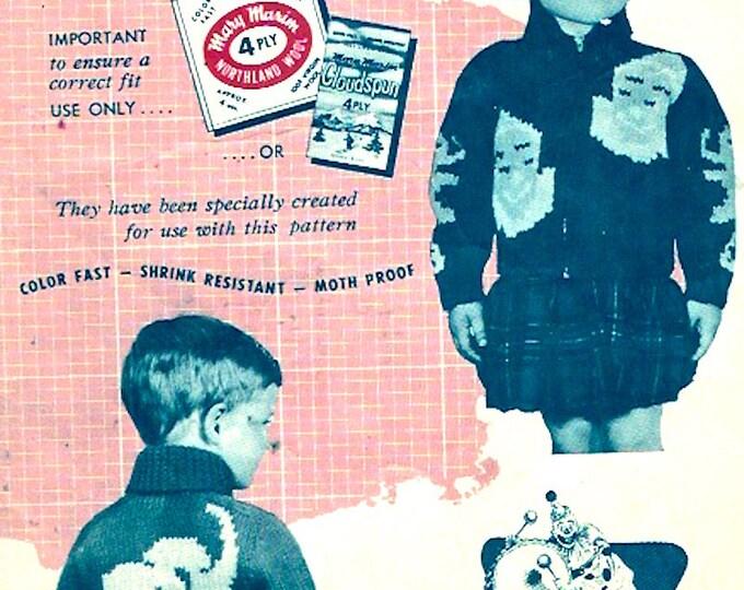 Elephant Clown Cardigan knitting pattern Mary Maxim 476 childrens sweater graph knitting pattern Vintage 50s Retro sweaters