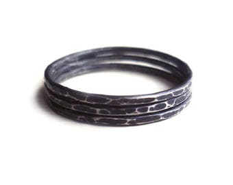 3 Stacked Rings - Oxidized Sterling Silver - 3 Hammered Rings - Rustic Rings - Custom Rings - Black Rings - Andyshouse - Made In Brooklyn
