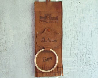 Vintage Leather Souvenir Button and Tie Holders - Watkins Glen, NY