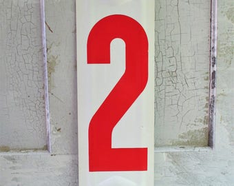 Vintage Metal Red and White Gas Station Number - 2