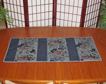 Stylized Peonies Design Japanese Quilted Fabric Table Runner Blue Gray Tones