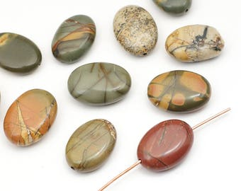 11 pcs red creek jasper beads, oval flat brown grey green semiprecious stone 18mm