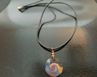 Rainbow Wave Pendant on Leather Cord