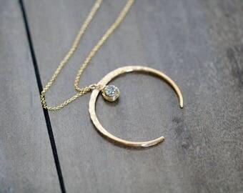 Druzy Moon Necklace ,  Gold Horn Crescent Upside Down Statement Necklace , Long Boho Druzy Pendant , Rose Gold , Silver - Fete