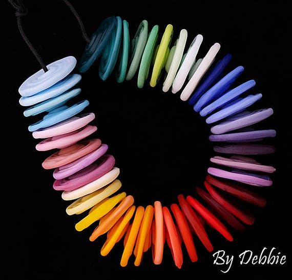 Rainbow Beads Lampwork Beads Glass Beads For Bracelets Statement Necklace Beads For Jewelry Supplies Jewelry Sets Disc Beads Debbie Sanders