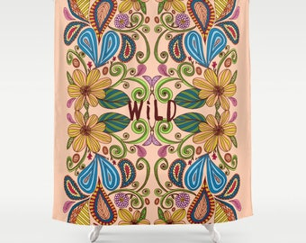 bohemian fabric shower curtain- floral design-typography-words-pretty boho bathroom decor