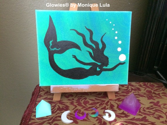 Mermaid with Bubbles, Mermaid Painting, Glow in the Dark Painting, Original Canvas Painting, Glowing Painting, Glow in the Dark on Canvas