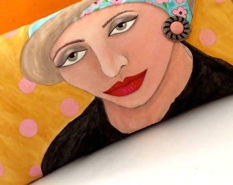 SOFA PILLOW, hand painted sofa pillow, hand painted woman pillow, vintage earring, ochre pillow, decorative pillow, painted flower hat,