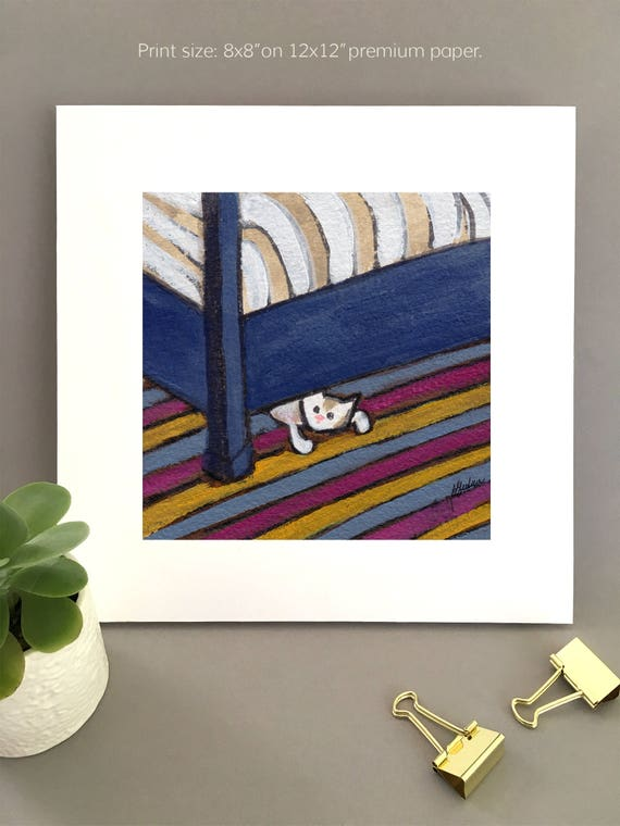 Safer Under the Bed, white cat art for my house, patch tabby cat hiding under bed, scared kitty art for my bedroom by Bernadette Artwork