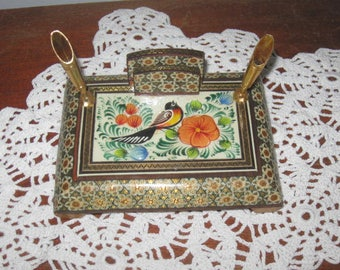 Vintage Pen and Business Card Holder Desk Organizer Card Holder Bird Decor