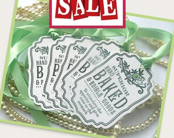 Superior Hand Baked Goods Novelty TAGS - Vintage Style, Green Ribbon - Ideal Wedding Favor Tags, Gifts, Party and Buffet Tags CODE B6