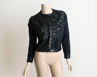 Vintage 60s Sequin Cardigan - Black Sequined Formal Lambswool Cardigan Sweater - 1960s Lambs Wool Angora - Small