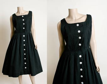 Vintage 1950s Dress - Black Button Up Sundress - Classic Rockabilly - Pockets - Full Fit n Flare Skirt - Kay Windsor - Medium