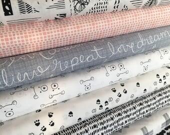 Nest Fabric, Neutral Nursery, Quilt or Apparel Fabric, Gender Neutral, Black White Decor, Bear, Art Gallery Fabric- Fabric Bundle of 8