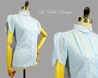 Baby Blue Shirt L ~ Vintage Embroidered Eyelet Blouse ~ Tulip Sleeves