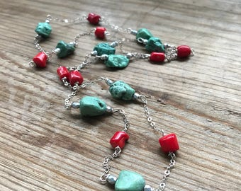 Turquoise and Coral Long Layering Necklace Gifts Under 60 Boho Chic Bohemian Statement Jewelry Gemstone Necklace December Beachy Summer