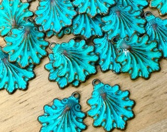 Fancy Victorian Seashell Charms - 4 pcs - Aged Teal Brass Shell Charms - Ornate Vintage Brass Shell Charm - Beach Charms - Patina Queen