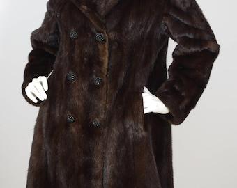 1960s Vintage Genuine Dark Brown Mink Women's Double Breasted Coat