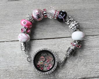 Charm Bracelet, Breast Cancer, Breast Cancer Bracelet, European Charm Bracelet, Silver Charm Bracelet, Breast Cancer Story Locket Bracelet