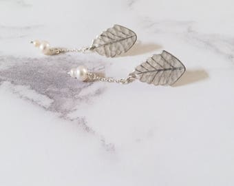 Ash leaf earrings, sterling silver post earrings, freshwater pearls, Leaf-Life collection, nature earrings, bride jewelry