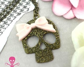 SWEET SKULL NECKLACE - Floral Skeleton - Pink Bow - Antique Bronze