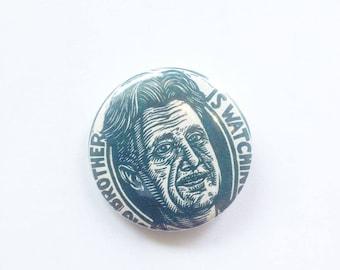 George Orwell 1984 Button - Literary Art Pinback Button - Author Button - Literary Art Button - Orwell Button - George Orwell Art
