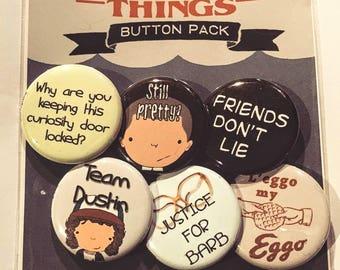 "Stranger Things-inspired set of 6 pinback buttons 1.25"""