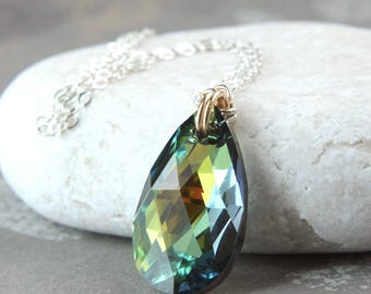 Swarovski Drop Necklace Sterling  Silver Gold Filled Mixed Metal  Crystal   Jewelry  Romantic Gifts For Her Swarovsky Pendant