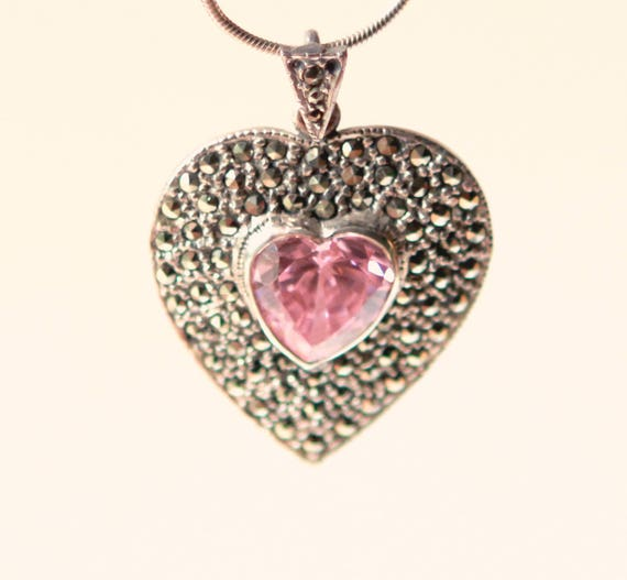 Vintage heart necklace, Marcasite pink stone, Heart pendant, Sterling silver, Pink stone and marcasite, Gift for her, Silver heart necklace