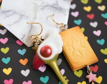 Sakura Cardcaptor Clow Wand Sealing Wand and Magical Clow Card. Japanese Anime Kawaii Cute Dangling Earrings