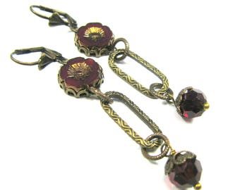 "Bohemian Inspired Czech Glass Collection - ""Sidonie"" Earrings"