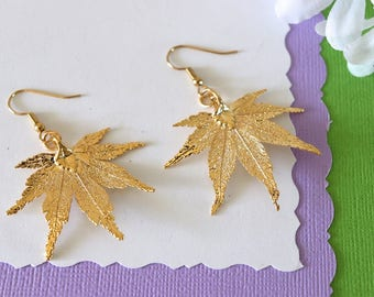 Real Maple Leaf Earrings Gold, Japanese Maple Leaf, Small Size Earrings, 24kt Gold Plating, Real Leaf Earrings, LESM77