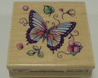 Butterfly With Flowers Wood Mounted Rubber Stamp By Rubber Stampede 3620E Floral, Leaves, Birthday, Friendship, Anniversary, Shower, Garden