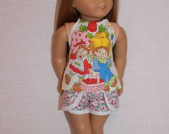18 inch doll clothes, graphic print halter top,  lace trim floral print dolphin shorts, Upbeat Petites