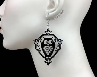 READY MADE SALE - Whimsical Owl Earrings - Black Owl - Laser Cut Acrylic Owl Earrings