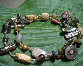 Weekend Getways Silk Cord- Pearls, Smokey Quartz, Abalone Shell Bracelet