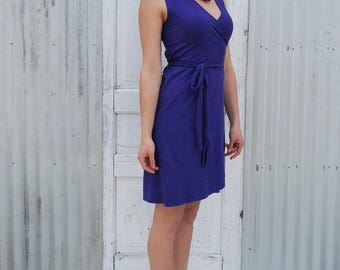 Short Sleeveless Hemp & Organic Cotton Wrap Dress with Lycra Stretch. Sassy Summer Dress made to Order in the USA by Yana Dee in 12 Colors.