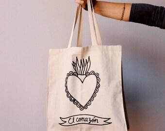 Tote bag - corazon - heart - coeur - cuore - loteria mexicana