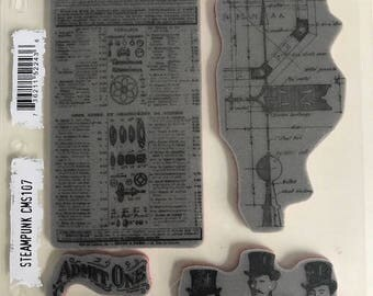 Tim Holtz Collection for Stampers Anonymous Steampunk Rubber Stamp Set CMS 107  FREE SHIPPING