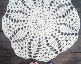 "Almond Crochet Doily Rug 24"" Circle Non Skid READY to SHIP"