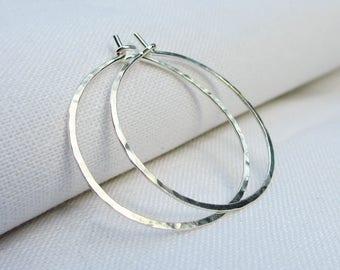 Sterling Silver Hoop Earrings, Silver Hoop Earrings, Hammered Hoops, Dainty, Simple Classic, Argentium, Plain Hoops, Pick your size, 1 inch