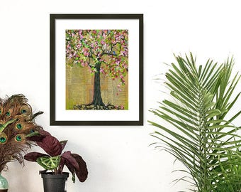 Art Print of Bluebirds of Happiness in a Tree with  Cherry Blossoms, Love Birds, Various Sizes