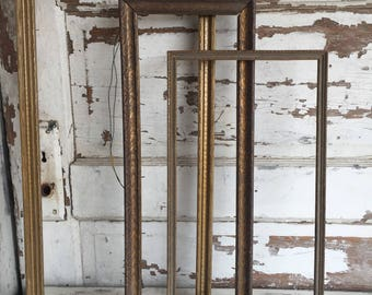 Vintage Antique Frames Distressed - Three Rectangular Narrow Wood