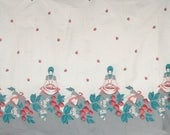 Vintage 50s Fabric - 50s Novelty Print Fabric - 50s Border Print Fabric - Strawberries - Strawberry Picking Women - Gray Red Teal - Cotton