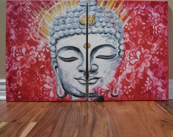 Enlightenment Stone Buddha with red lace Original Oil Painting, Buddha face, gold, spiritual, zen, fengshui