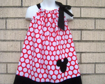 Minnie Mouse Red and White polka dot applique Pillowcase Dress, Sizes 3M  up to 7 years