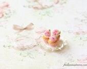 Dollhouse Miniature Food - Buttermilk Pink Peonies Cupcakes
