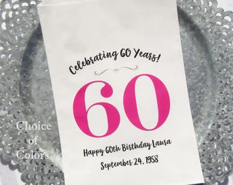 60th Favor Bags - Adult Birthday Favor - 60th Birthday - Favor Bags 60th Birthday - Adult Party Favors - Favor Bags - Adult Favors